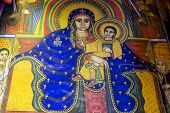Ancient fresco in the church of Our Lady Mary of Zion, Aksum, Ethiopia.