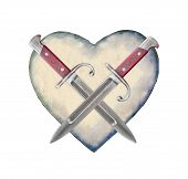 Heart Shaped With Knifes Symbol
