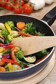 Preparing Veggie Food Vegetables In Cooking Pan With Spatula
