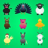 stock photo of gobbler  - colorful farm animals simple icons set eps10 - JPG