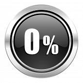 0 percent icon, black chrome button, sale sign