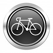 bicycle icon, black chrome button, bike sign