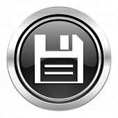 disk icon, black chrome button, data sign