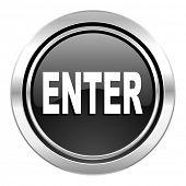 enter icon, black chrome button