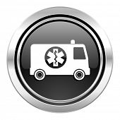 ambulance icon, black chrome button