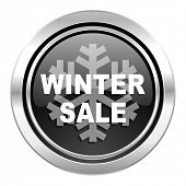 winter sale icon, black chrome button