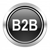 b2b icon, black chrome button