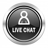 live chat icon, black chrome button
