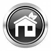 house icon, black chrome button, ecological home symbol