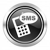 sms icon, black chrome button, phone sign