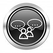 forum icon, black chrome button, chat symbol, bubble sign