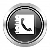 phonebook icon, black chrome button