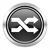 aleatory icon, black chrome button