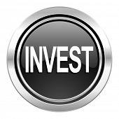 invest icon, black chrome button