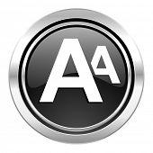 alphabet icon, black chrome button