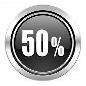 50 percent icon, black chrome button, sale sign