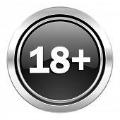 adults icon, black chrome button