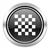 chess icon, black chrome button