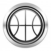 ball icon, black chrome button, basketball sign