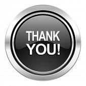 thank you icon, black chrome button