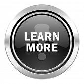 learn more icon, black chrome button