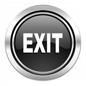 exit icon, black chrome button