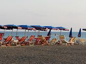 image of leghorn  - Beach umbrellas and chairs - JPG