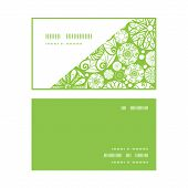Vector abstract green and white circles horizontal corner frame pattern business cards set