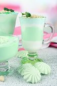 Mint milk dessert in glass bowls on color wooden background