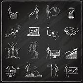 Business doodle chalkboard
