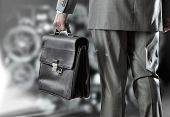 Rear view of businessman with suitcase in hand