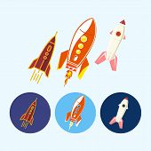 Set Icons With   Spaceships, Rockets, Vector Illustration