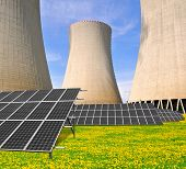 Nuclear power plant with solar panels