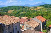 Panoramic view of Viggianello. Basilicata.Southern Italy.