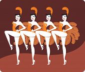 foto of cabaret  - Young sexy cabaret dancers in feather costumes - JPG