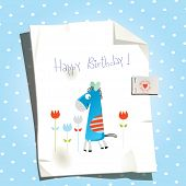Kids happy birthday cute vector greeting card, invitation.