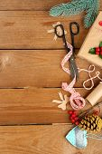 Beautiful Christmas composition with handmade gift on wooden background