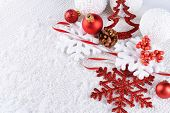 Christmas composition on snow close-up