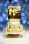 Old Retro Toy Wooden Car With Gift Box