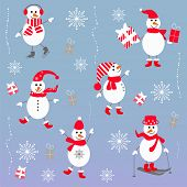 Winter Xmas arrangement with snowmen