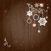 Christmas decoration on wood background with place for text.
