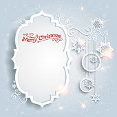 Light christmas card with copy space. Vector holiday background.