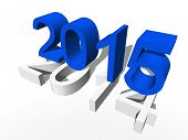 Conceptual 3D blue 2015 new year text standing out of the crowd isolated on white background