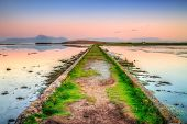 Idyllic sunset over the path in Co. Mayo, Ireland