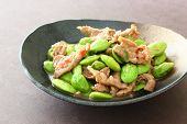 Thai style stir fry pork with Parkia beans and shrimp paste