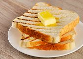 Slices Of Toast Bread On    Plate
