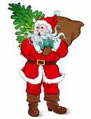Santa Claus carrying a sack of gifts and a Christmas tree