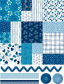 stock photo of fill  - Cool Blue Patchwork square pattern and Icons - JPG