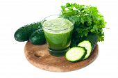 picture of cucumber  - Spring detox cocktail fresh cucumber juice with parsley on a white background isolated - JPG