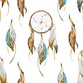 pic of dreamcatcher  - Beautiful vector pattern with nice watercolor dreamcatcher - JPG